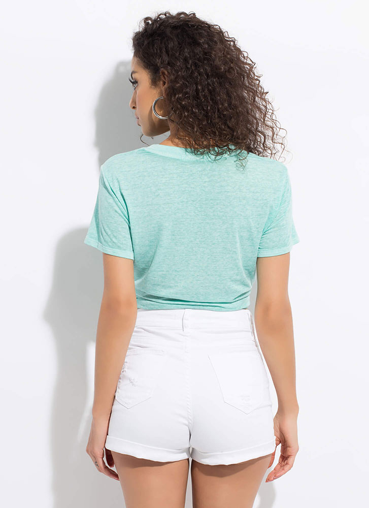 Tie Game Knotted Heathered Crop Top MINT