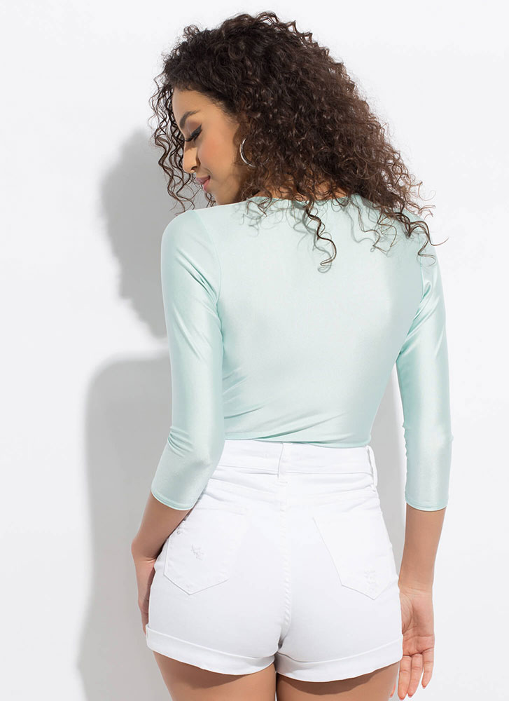 Knot Gonna Lie Twist-Front Bodysuit MINT