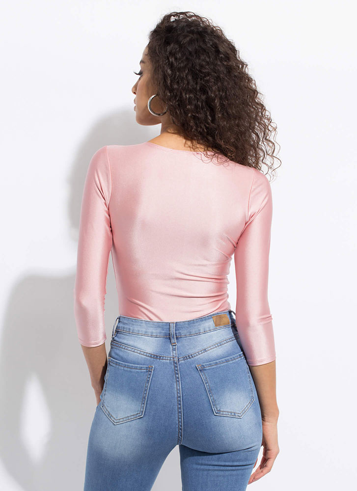 Knot Gonna Lie Twist-Front Bodysuit ROSE