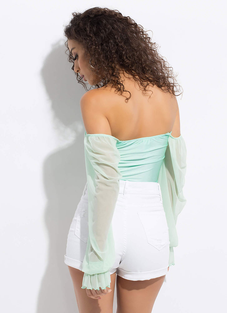 A Little Romance Sheer Sleeve Crop Top MINT