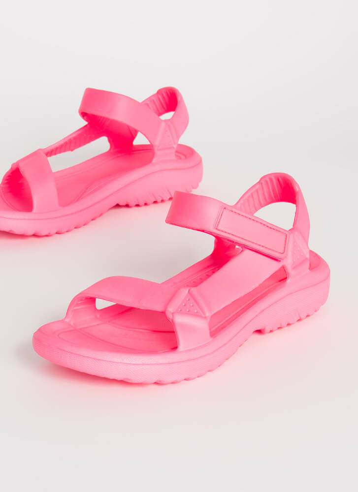 Weekend Trip Faux Harness Sandals HOTPINK