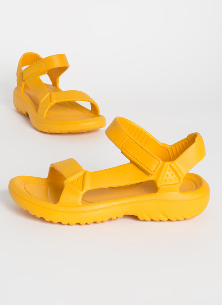 Weekend Trip Faux Harness Sandals MARIGOLD