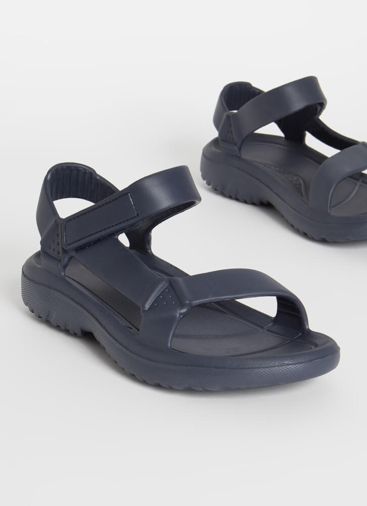 Weekend Trip Faux Harness Sandals NAVY