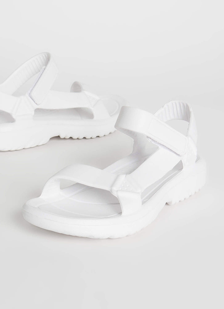 Weekend Trip Faux Harness Sandals WHITE