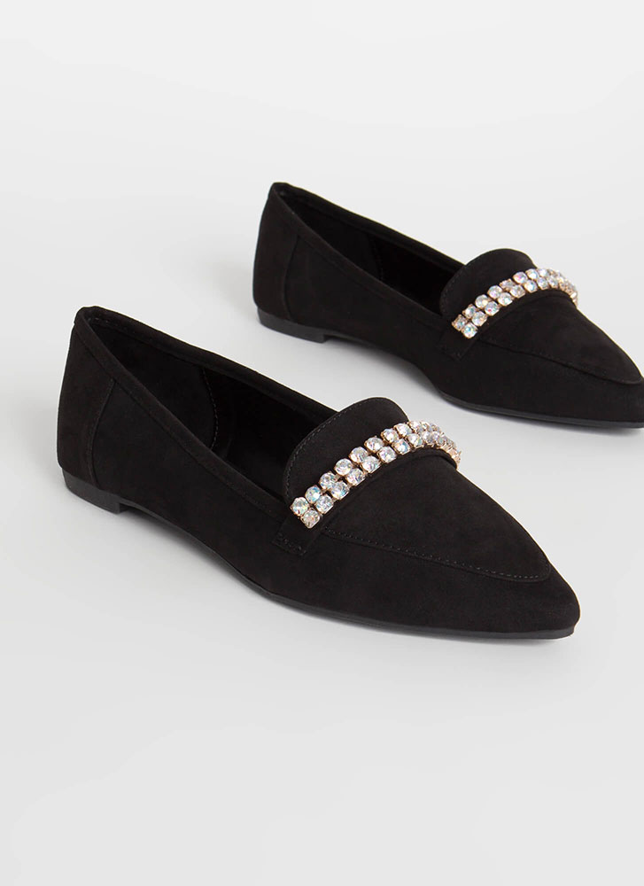 Gleam Catcher Jeweled Smoking Flats BLACK