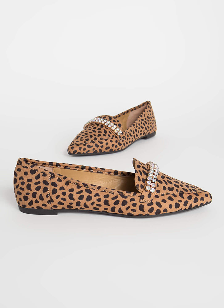 Gleam Catcher Jeweled Smoking Flats CHEETAH