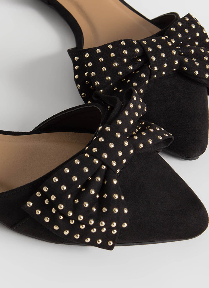 Bow For The Gold Studded D'Orsay Flats BLACK