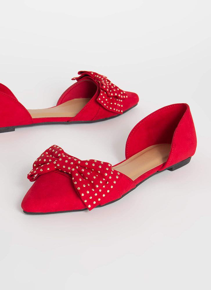 Bow For The Gold Studded D'Orsay Flats RED (Final Sale)