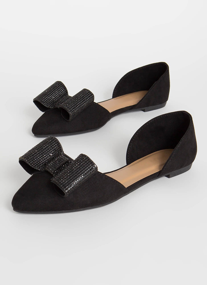 You Bow Girl Faux Suede D'Orsay Flats BLACK (Final Sale)