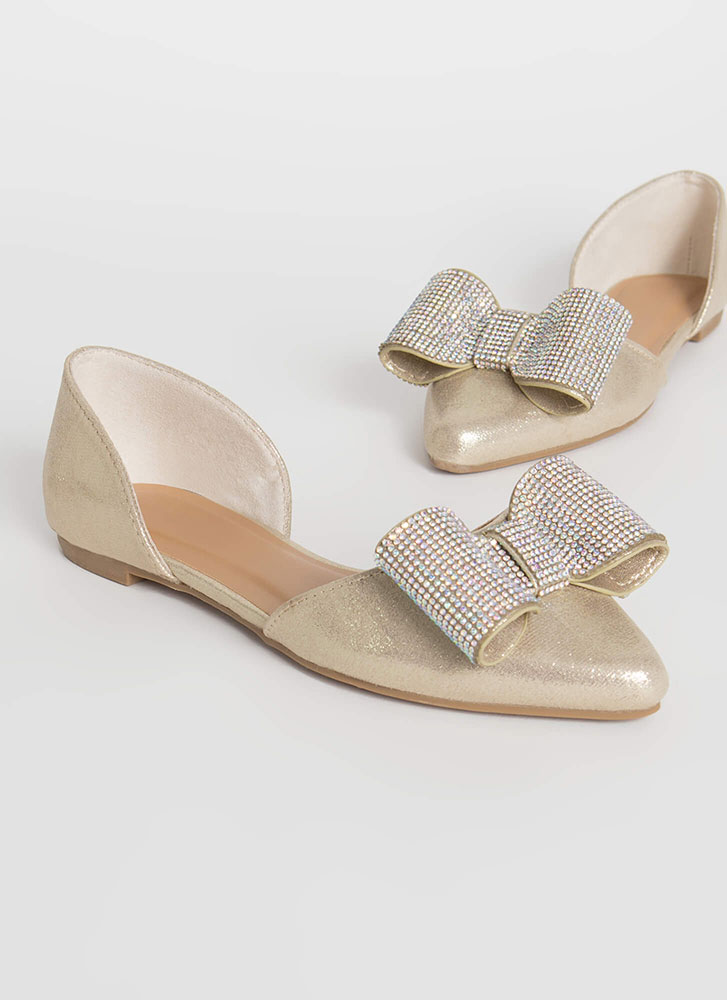 You Bow Girl Metallic D'Orsay Flats GOLD