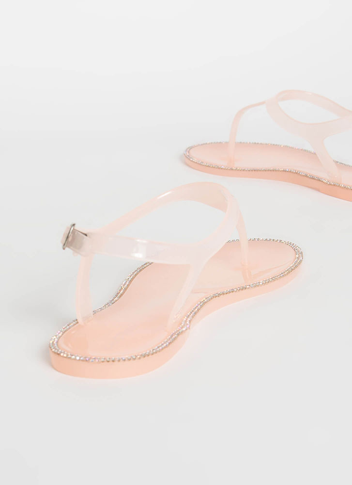 Jeweled Touch Jelly T-Strap Sandals NUDE