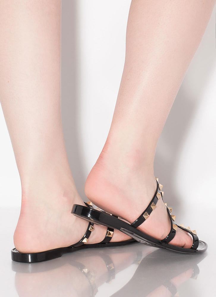 Stud Factor Caged Jelly Sandals BLACK