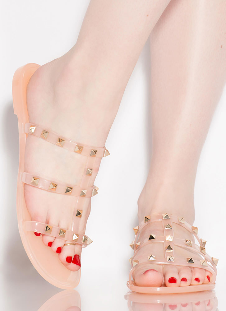 Stud Factor Caged Jelly Sandals NUDE