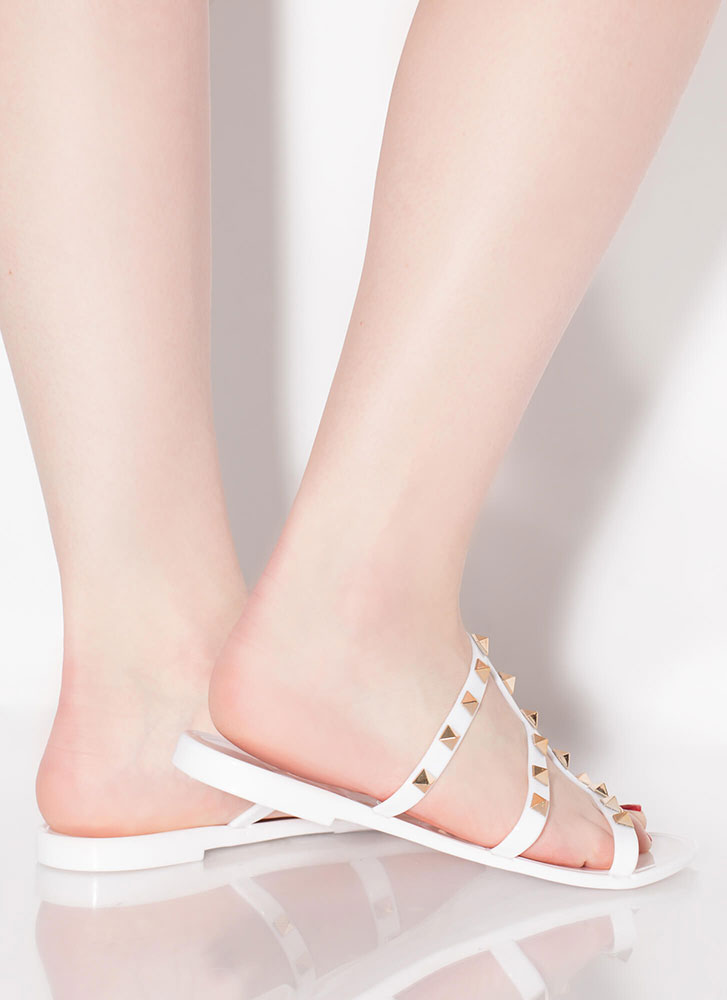 Stud Factor Caged Jelly Sandals WHITE