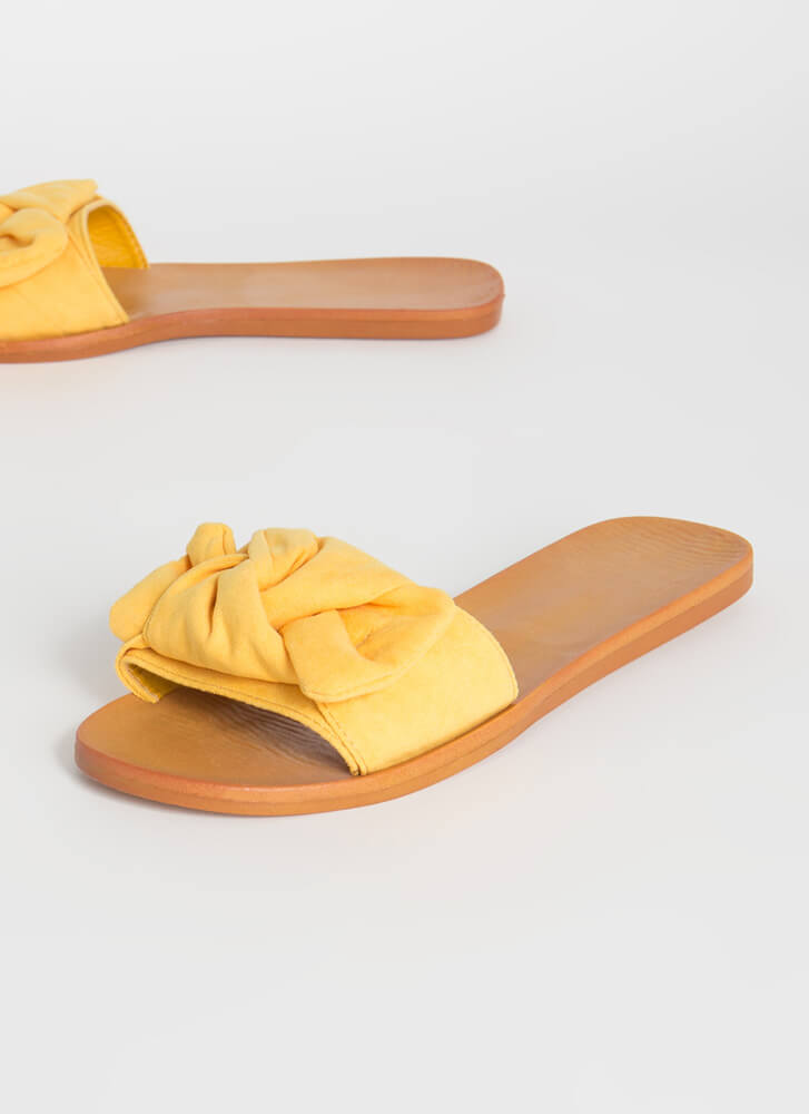 Bow For It Faux Suede Slide Sandals AMBER