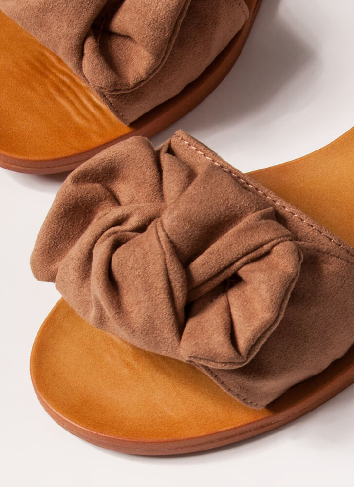 Bow For It Faux Suede Slide Sandals CAMEL