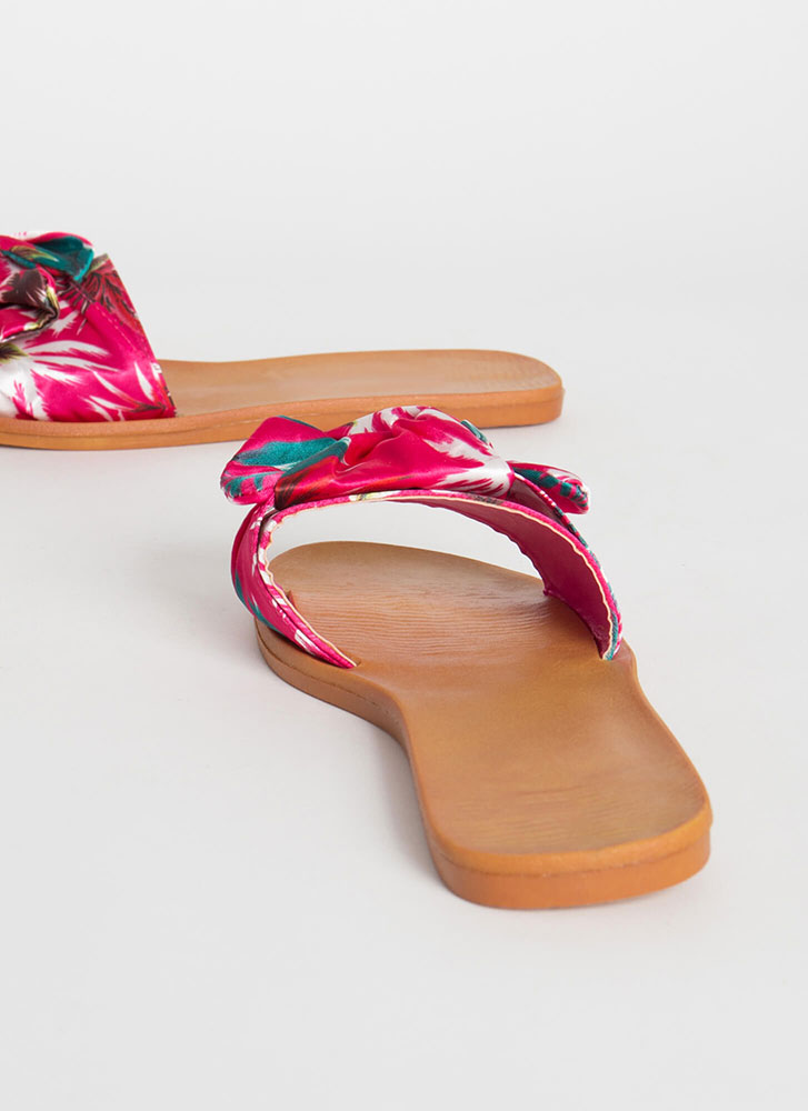 Bow For It Tropical Slide Sandals HOTPINK