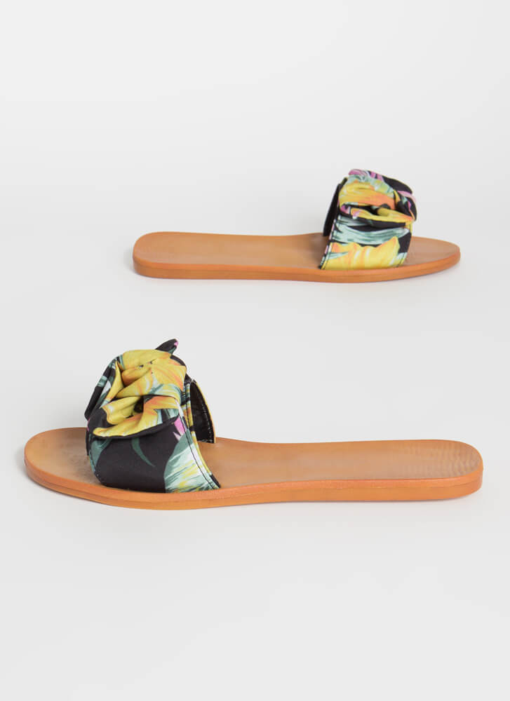 Bow For It Tropical Slide Sandals YELLOW