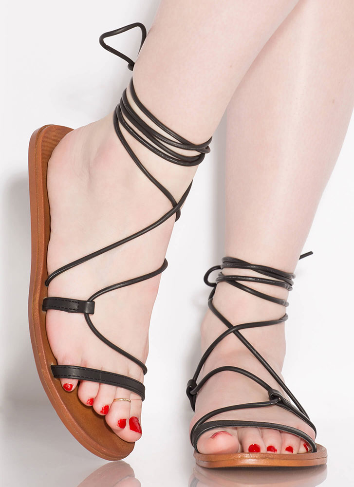 Boho Girl Faux Leather Lace-Up Sandals BLACK