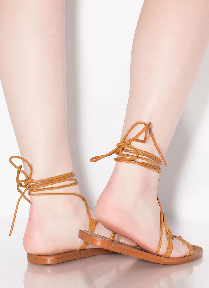 Boho Girl Faux Leather Lace-Up Sandals TAN