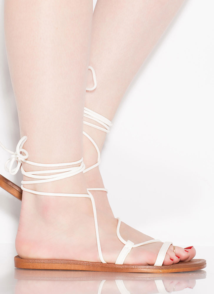 Boho Girl Faux Leather Lace-Up Sandals WHITE