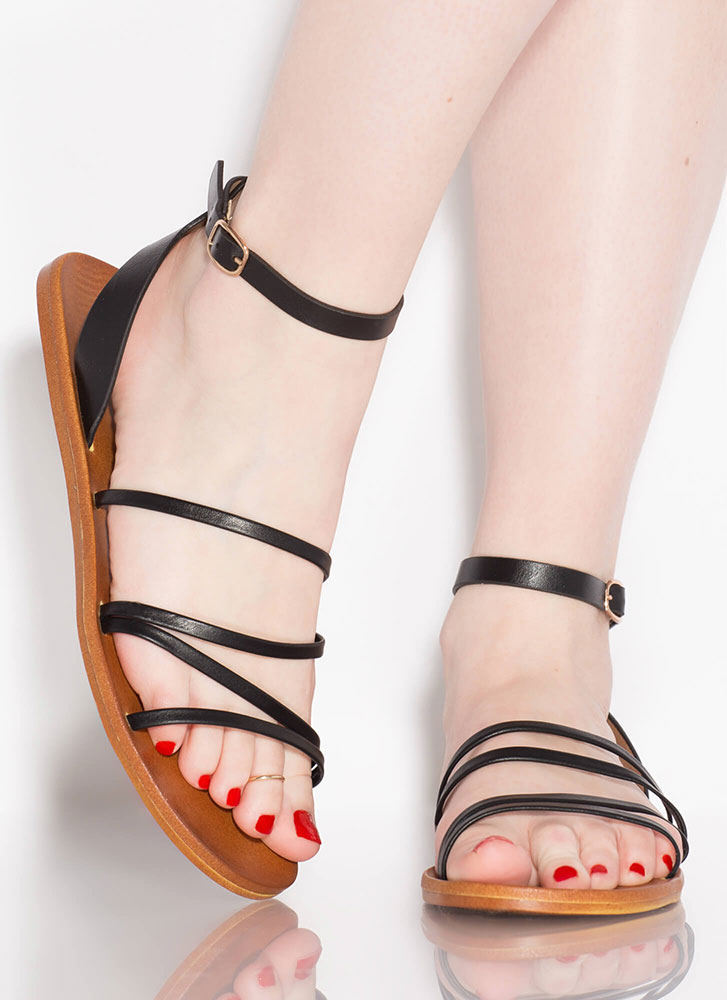 Four Your Eyes Only Strappy Sandals BLACK