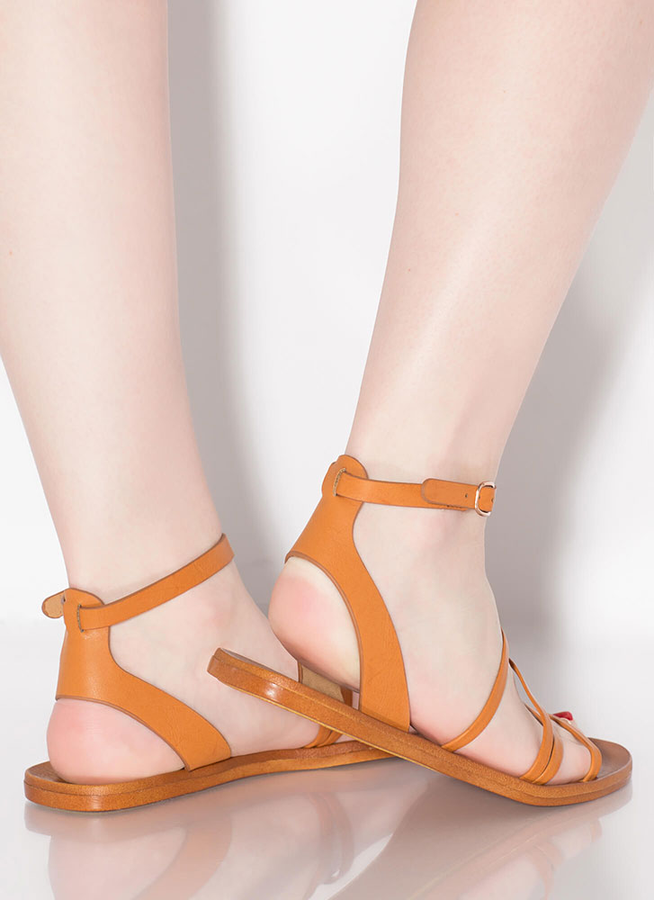 Four Your Eyes Only Strappy Sandals TAN