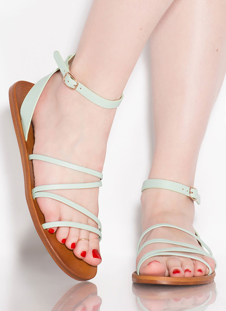 Four Your Eyes Only Skinny Strap Sandals PISTACHIO