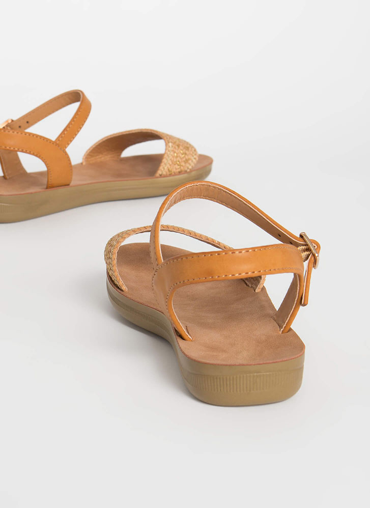 Bali Vacation Woven Ankle Strap Sandals TAN