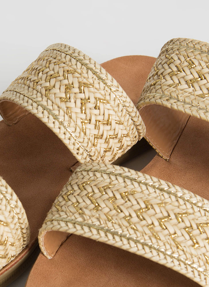 Bali Vacation Woven Slide Sandals BEIGE