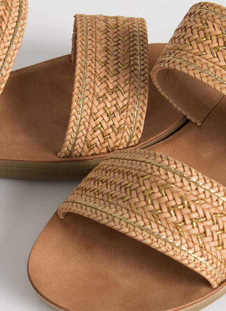 Bali Vacation Woven Slide Sandals TAN