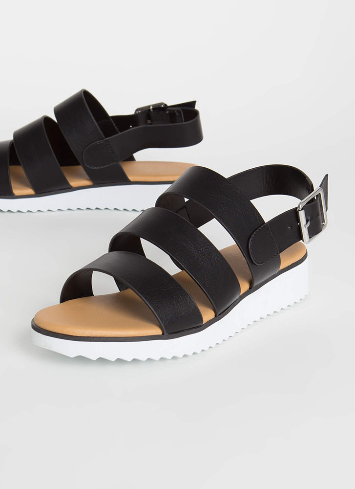 Wherever Whenever Strappy Sandals BLACK