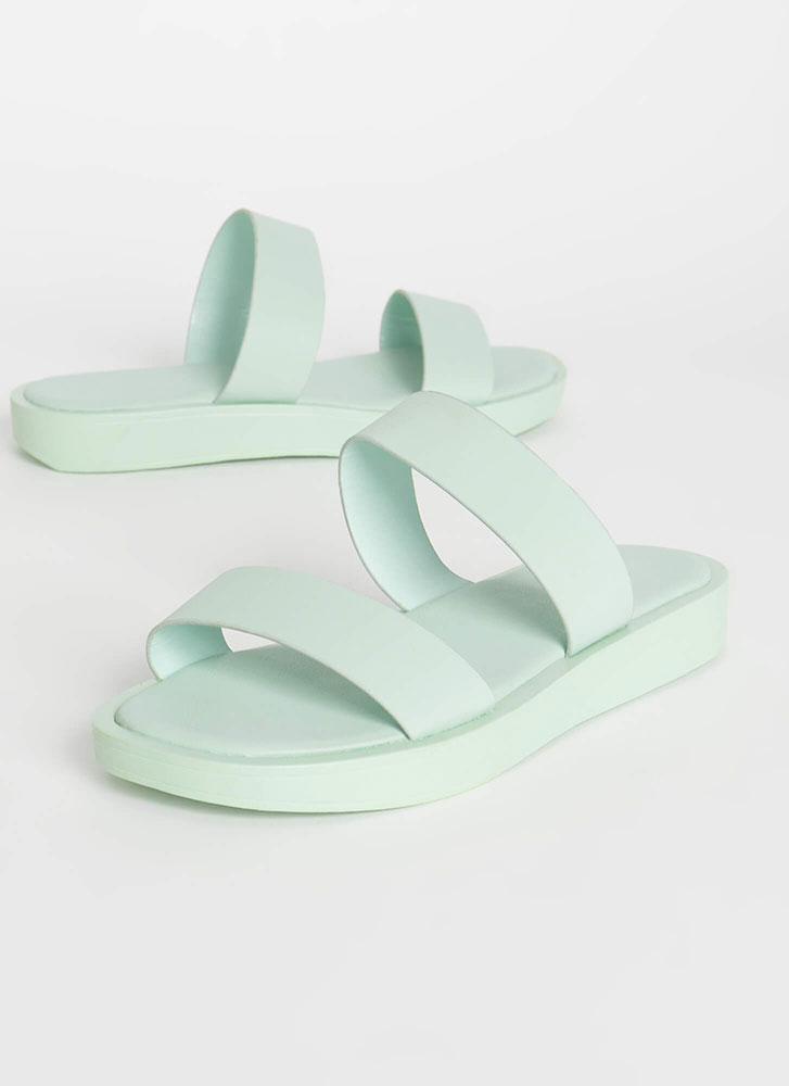 Sidekick Faux Leather Slide Sandals PISTACHIO