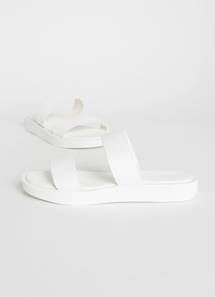 Sidekick Faux Leather Slide Sandals WHITE
