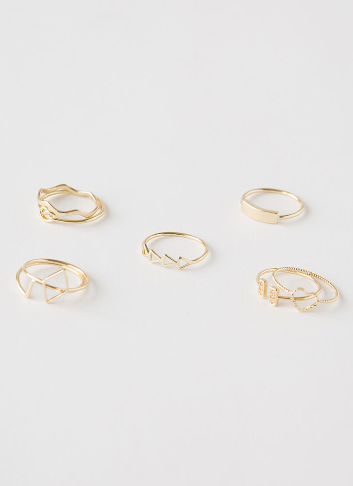 Stacked Delicate Eight-Ring Set GOLD