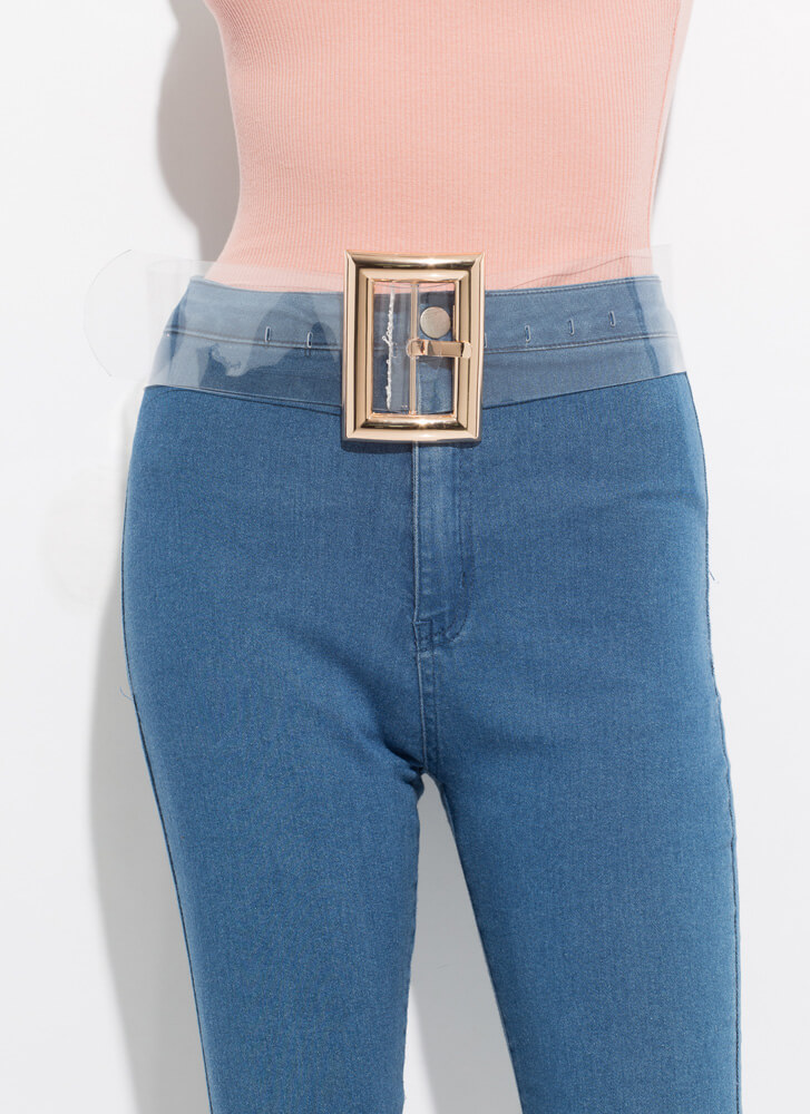 Clearly Cool Wide Buckled PVC Belt CLEARGOLD