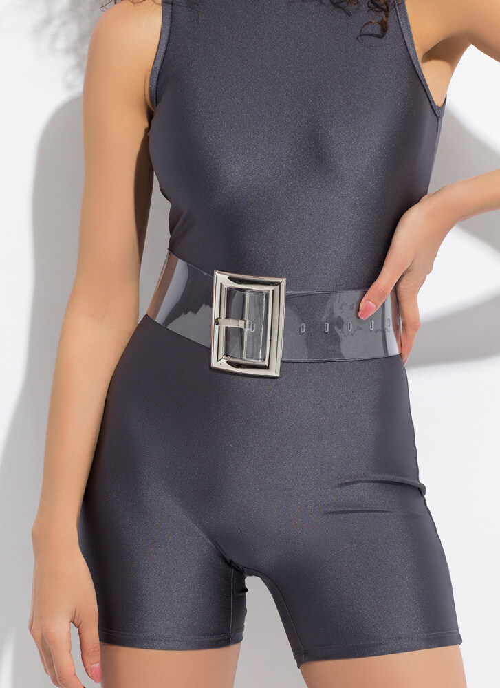 Clearly Cool Wide Buckled PVC Belt CLEARSILVER