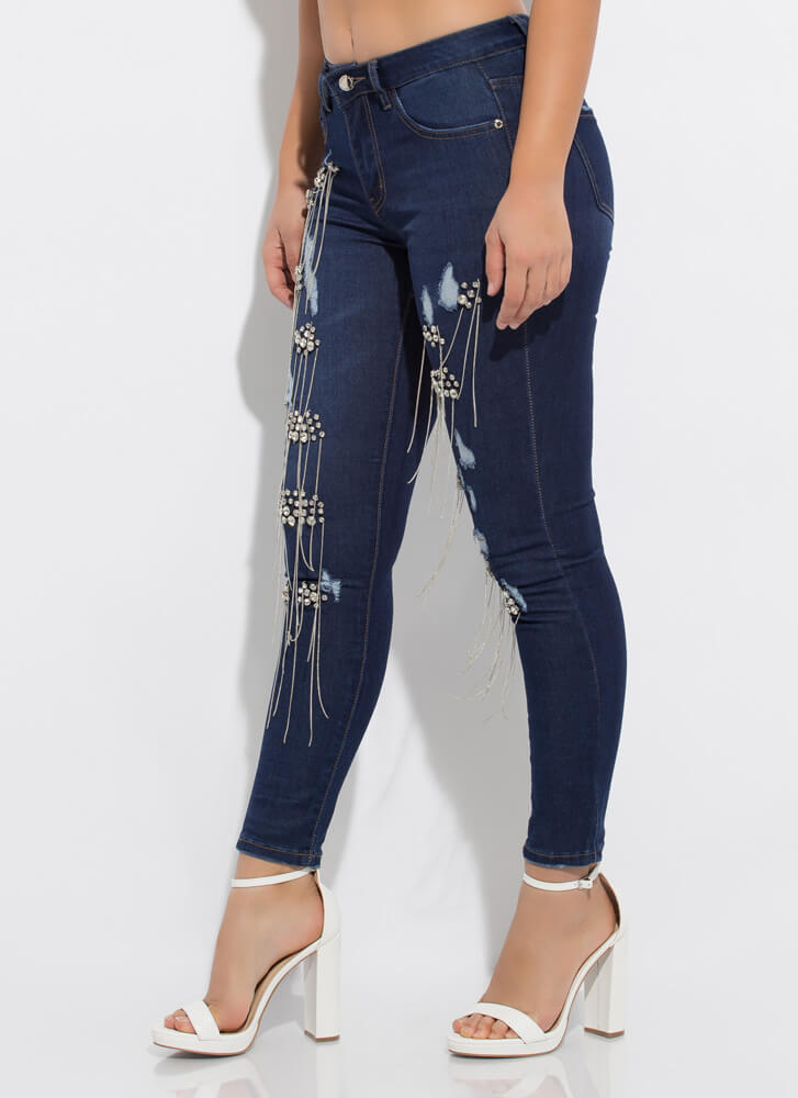 Diamonds And Chains Distressed Jeans DKBLUE