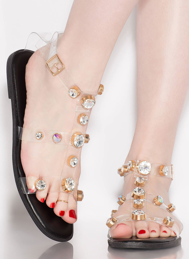 Glow Up Jeweled Illusion Sandals BLACK