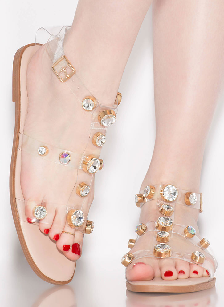 Glow Up Jeweled Illusion Sandals NUDE