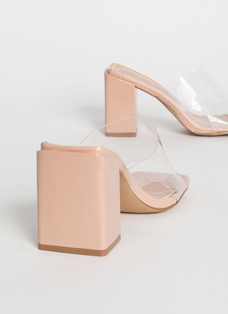Around The Block Glossy Clear Mule Heels NUDE