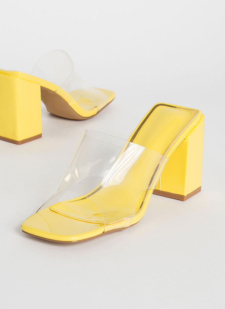 Around The Block Glossy Clear Mule Heels YELLOW
