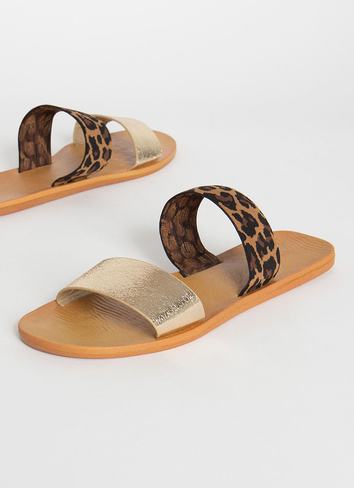 Beach Comber Shiny Leopard Slide Sandals GOLD