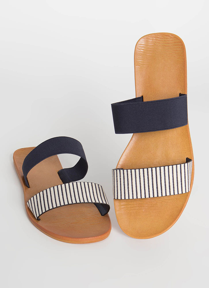 Beach Comber Pinstriped Slide Sandals NAVY