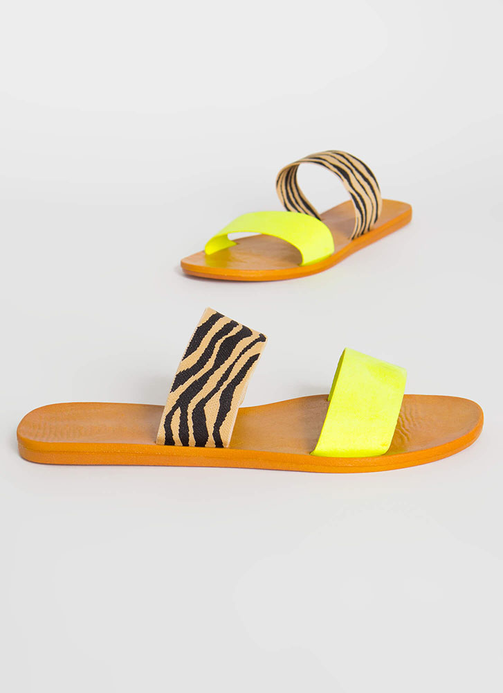 Beach Comber Tiger Strap Slide Sandals NYELLOW