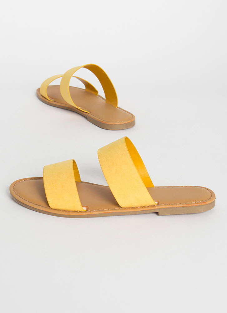 Poolside Party Faux Suede Slide Sandals AMBER