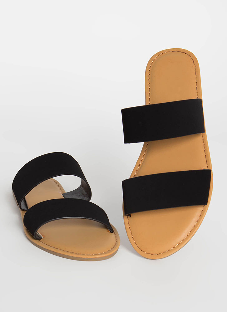 Poolside Party Faux Nubuck Slide Sandals BLACK