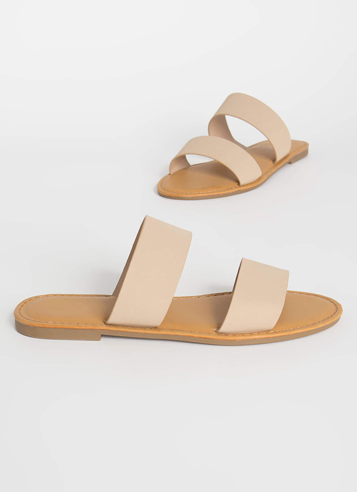 Poolside Party Faux Nubuck Slide Sandals NUDE