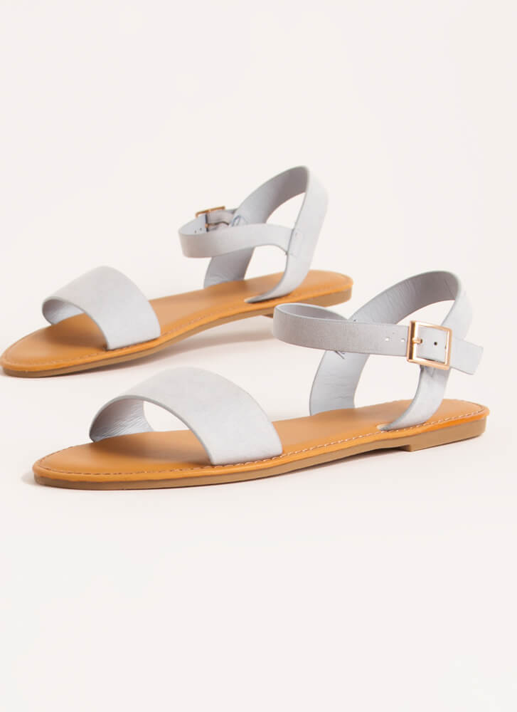 Sunny Forecast Faux Suede Sandals BABYBLUE