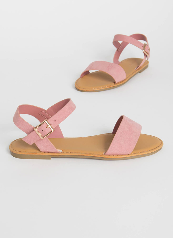 Sunny Forecast Faux Suede Sandals BLUSH
